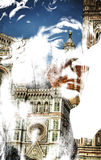 Double exposure of David's face and Santa Maria del Fiore in Flo Royalty Free Stock Photos