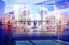 Double exposure of day city view Stock Image