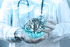 Double exposure of doctor neurologist Stock Photography