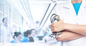 Double exposure of Doctor with stethoscope royalty free stock image