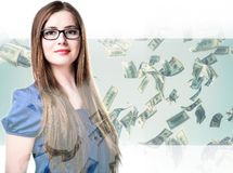 Double exposure, earning money, business ladies Royalty Free Stock Photo