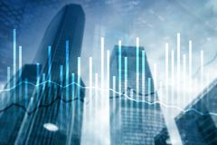 Double exposure Economics growth diagrams on blurred background. Business and investment concept.  stock images
