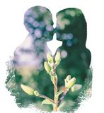 Double Exposure Of The Couple And Nature stock photography