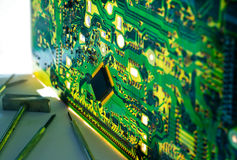 Double exposure electronic circuit board and tools repair Royalty Free Stock Images