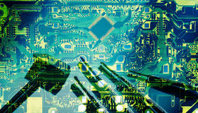 Double exposure electronic circuit board and tools repair for background Royalty Free Stock Photos