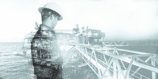 Double exposure of Engineer or Technician man with safety helmet operated platform or plant by using tablet with offshore oil and vector illustration