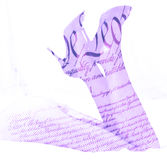 Double exposure female legs and high heels with US constitution background Royalty Free Stock Photo