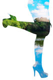 Double Exposure-Female legs and the lake with blue sky Stock Photography