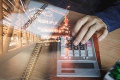 Double exposure finance and offshore oil and gas industrial platform royalty free stock images