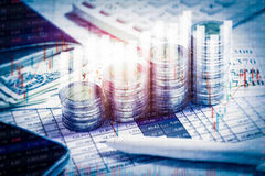 Double Exposure Financial Stock Market In Accounting Market Econ Royalty Free Stock Photography