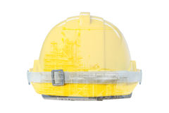 Double exposure of Front view of Yellow Safety Helmet Royalty Free Stock Photography