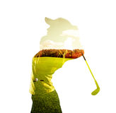 Double exposure of golf player. Double exposure of young female golf player holding club combined with green field and sky. Golfing concept Stock Photos