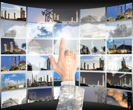 Double exposure hand businessman click choice world map Stock Image