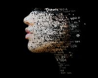 Double exposure of hand drawn painting combined with a close up profile portrait with THANK YOU words embedded. Fully living life in gratitude stock photo