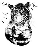 Double exposure, Hand drawn Tiger Stock Photos