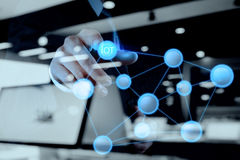 Double exposure of hand showing Internet of things (IoT) Royalty Free Stock Photo