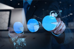 Double exposure of hand showing Internet of things (IoT) word Stock Image