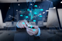 Double exposure of hand showing Internet of things (IoT) Stock Photo
