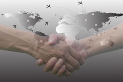 Double exposure of hands coordination. And airplane map earth Royalty Free Stock Image