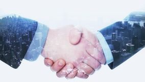 Double Exposure Handshake Businessman on Cityscape. Business handshake concept 4K animation stock footage