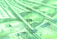 Double exposure high voltage power lines with American currency background Royalty Free Stock Images