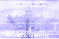 Double exposure high voltage power lines with hundred dollar bill background Royalty Free Stock Photography