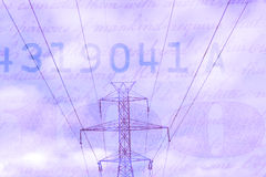 Double exposure high voltage power lines with hundred dollar bill background Stock Photos