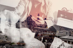 Double exposure of hipster hand using smart phone for mobile pay Stock Image