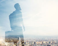 Double exposure of hipster tourist and summer city Royalty Free Stock Images