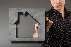 Double exposure of house blueprint Stock Images