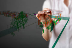 Double exposure of house blueprint Royalty Free Stock Image