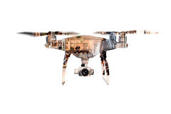 Double exposure. Hovering drone and big old warehouse. Isolated. Royalty Free Stock Photos