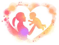 Double exposure illustration. Side view of Happy mother holding. Adorable child baby girl silhouette plus abstract water color painted. Digital art painting Royalty Free Stock Photo