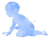 Double exposure illustration. Side view of little baby crawling Royalty Free Stock Images