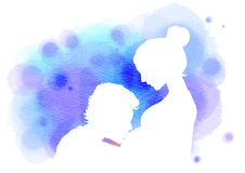Double exposure illustration. Side view of young man kissing the Royalty Free Stock Photo