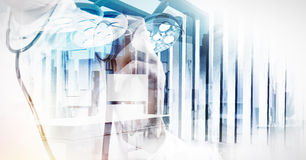 Double exposure of image abstract hospital city Royalty Free Stock Photo