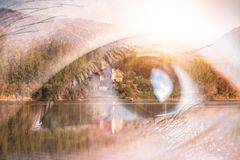 The double exposure image of the eye looking up overlay with nature image. The concept of nature, freedom, environment and busines royalty free stock photo