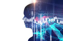 Double exposure image of financial graph and virtual human 3dill. Ustration  on business technology  background represent algorithmic trading process Stock Image