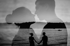 Double exposure image of loving couple Stock Photos