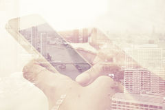 Double exposure image of people using smart phone Stock Photography