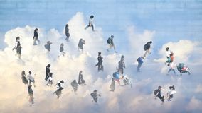 The double exposure image of top view of people walk on street with the reflection of sky and cloud. Concept city life and nature royalty free stock images