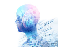 Double exposure image of virtual human 3dillustration Royalty Free Stock Images