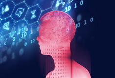 Double exposure image of virtual human 3dillustration Stock Image