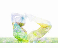 Double exposure image of  woman doing yoga asana Royalty Free Stock Photography
