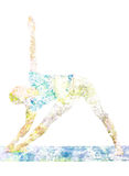 Double exposure image of woman doing yoga asana stock photography