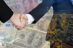 Double exposure of International business trade agreements.  Royalty Free Stock Photography