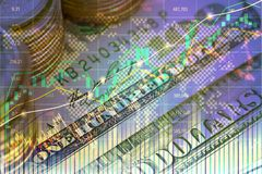 Double exposure of investment on stock market or forex trading i royalty free stock photography