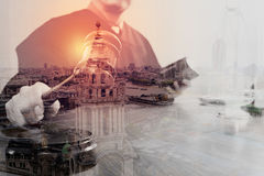 Double exposure of justice and law concept.Male judge in a court Royalty Free Stock Photography