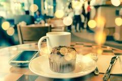 Double exposure latte coffee Stock Photography