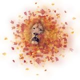 Double exposure of lion head and autumn leaves. Double exposure of a lion head and autumn leaves royalty free illustration